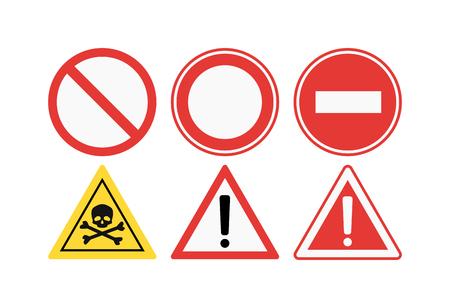 Prohibition signs set vector illustration. Warning danger symbol prohibiting signs. Forbidden safety information prohibiting signs. Protection signs no pet warning information sign. Ilustração