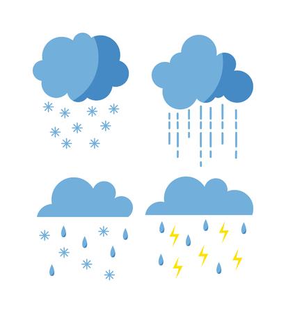 메가 팩 날씨 아이콘 눈 기후, 일기 예보, 비오는 폭풍. 눈송이 세트 바람 구름 날씨 아이콘을 설정합니다. 날씨 아이콘 흐린 디자인 하늘, 자연, 온도, 맑은, 차가운, 천둥 번개.