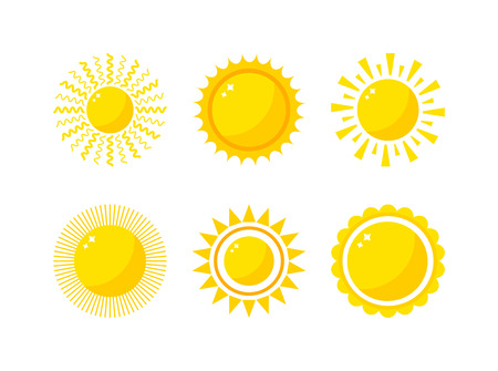 Vector sun icon isolated on white background. Sun Vector isolated summer icon design. Vector yellow sun symbol. Vector sun sun element. Sun weather icon vector sun isolated sign symbol Ilustração