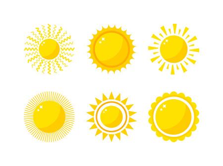 Vector zon pictogram op een witte achtergrond. Zon Vector geïsoleerd zomer design icoon. Vector gele zon symbool. Vector zon zon element. Zon weer pictogram vector zon geïsoleerde symbool teken Stock Illustratie
