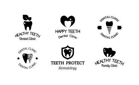 dent: Dentist implants vector medical symbol collection. Clean dentist bright designs medical icon health care. Healthy hygiene dentist , oral blue implant dent business shape.