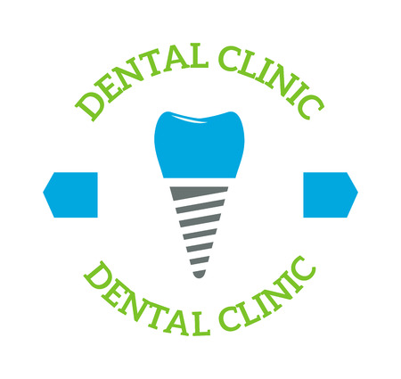 dent: Dentist implants vector medical symbol badge. Clean dentist bright designs medical icon health care. Healthy hygiene dentist , oral blue implant dent business shape.