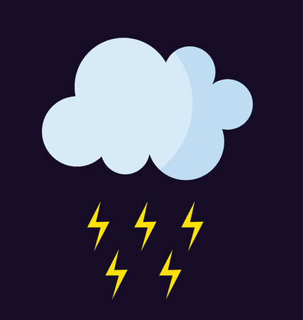 stormy: Lightning vector icon storm cloud. Storm cloud weather sky dark nature dramatic cloudscape. Danger stormy, thunderstorm symbol storm cloud natural scenic meteorology overcast scene. Illustration