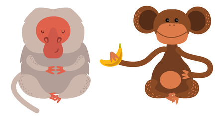 wild life: Cartoon monkey vector illustration. Monkey animal and jungle cartoon wild life. Monkey cute types cute primate isolated. Monkey zoo jumping chimpanzee mammal.