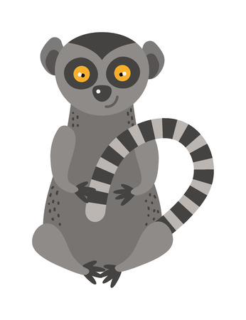 jungle jumping: Cartoon monkey lemur vector illustration. Monkey lemur animal and jungle cartoon wild life. Monkey cute types cute primate isolated. Lemur zoo jumping chimpanzee mammal. Illustration