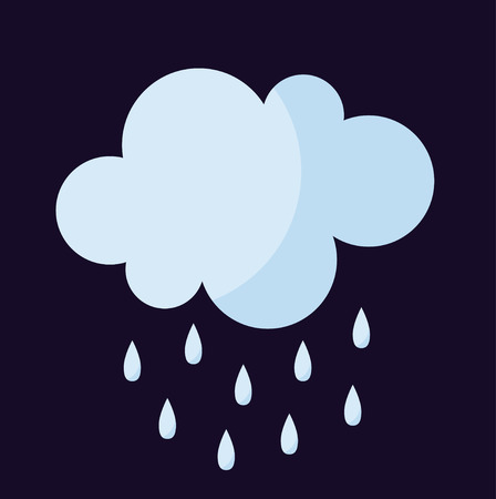 cold climate: Vector illustration of cool single weather rain cloud icon. Rain cloud with raindrops in dark sky. Rain weather sky climate storm symbol cloud. Cold season water nature forecast element. Illustration