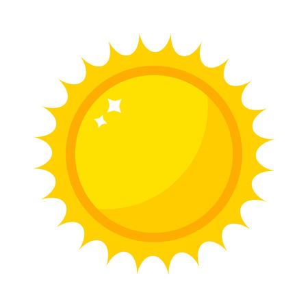 벡터 태양 아이콘 흰색 배경에 고립입니다. 일 벡터 여름 아이콘 디자인입니다. 벡터 노란 태양 기호입니다. 벡터 태양 태양 요소입니다. 일 날씨 아이