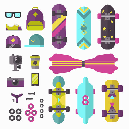 fingerboard: Skateboard, fingerboard icon extreme sport sign. Vector different details skateboard icons urban art silhouette. Street graphic deck skater symbol skateboard icons active fun ride.