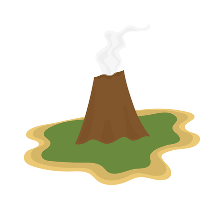 volcano mountain erupting: Volcano magma nature blowing up with smoke vector isolated. Crater mountain volcano hot natural eruption nature. Volcano erupt ash fire hill landscape outdoor geology exploding ash.