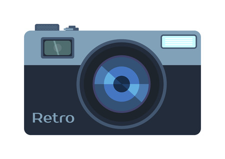 Photo camera and digital photo camera isolated vector. Flat photo camera shutter creative optical classic cam. Digital flat photo camera isolated technology vector.