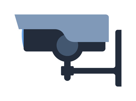 home protection: Security camera privacy protection system equipment, watching security camera record electronics control. Surveillance security camera. Safety home protection system technology vector illustration.