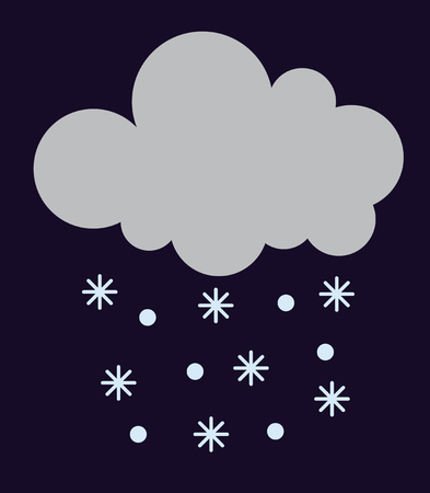 meteorology: Single weather icon cloud with snow storm meteorology winter element. Illustration blue snow cloud on white. Cloudy climate snow cloud. Winter cloud snow day symbol. Meteorology winter element.