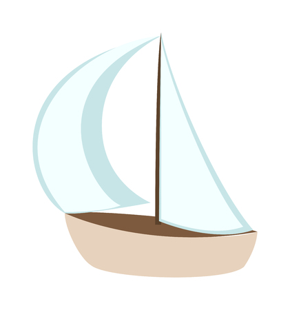 Vector cartoon ship white boat and travel sailboat toy ship. Toy sail boat fun model yacht andplay small toy ship. Transportation ocean cruise children toy. Travel ship