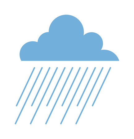 cold weather: Vector illustration of cool single weather rain cloud icon. Rain cloud with raindrops in dark sky. Rain weather sky climate storm symbol cloud. Cold season water nature forecast element. Illustration
