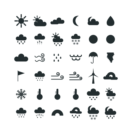 Weather icons thin line style flat design travel storm fog cold rainy climate. Weather thin icons cloud flat design. Snowflake wind, sun, web temperature nature forecast weather thin icons. Stock Vector - 60297204