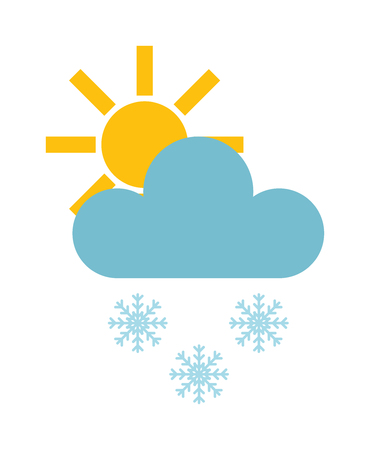 snow day: Single weather icon cloud with snow storm meteorology winter element. Illustration blue snow cloud on white. Cloudy climate snow cloud. Winter cloud snow day symbol. Meteorology winter element.