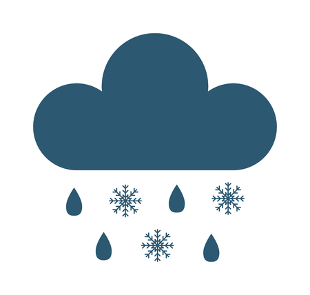 snow storm: Single weather icon cloud with snow storm meteorology winter element. Illustration blue snow cloud on white. Cloudy climate snow cloud. Winter cloud snow day symbol. Meteorology winter element.