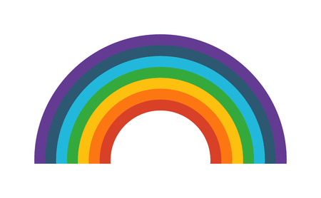 Rainbow vector illustration. Cartoon rainbow isolated on background. Flat rainbow icon. Cartoon rainbow flat style. Vector cartoon rainbow Ilustracja