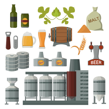 brewer: Beer brewing process infographic. Flat style Beer production keg, hops, plant opener. Beer production brewing process elements. Mashing, boiling, cooling, fermentation, filtering packaging.