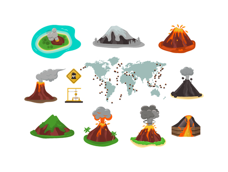 magma: Volcano magma nature blowing up with smoke vector isolated. Crater mountain volcano hot natural eruption nature. Volcano erupt ash fire hill landscape outdoor geology exploding ash.