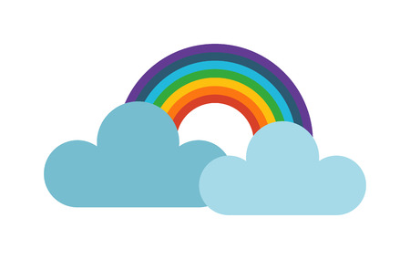cold climate: Vector illustration of cool single cloud and rainbow. Rain cloud with rainbowin dark sky. Rain weather sky climate storm symbol cloud. Cold season water nature forecast element.