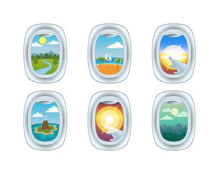 Airplane window nature outdoor landscape view. Airplane window view holiday vacation. Airline, travel, clouds sunset airplane window view. Nature travel travel airplane view Illustration