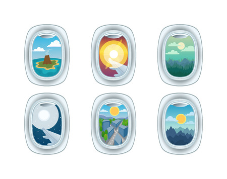 view window: Airplane window nature outdoor landscape view. Airplane window view holiday vacation. Airline, travel, clouds sunset airplane window view. Nature travel travel airplane view Illustration