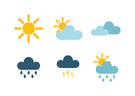 Weather icons thin line style flat design travel storm fog cold rainy climate. Weather thin icons cloud flat design. Snowflake wind, sun, web temperature nature forecast weather thin icons. Stock Illustratie