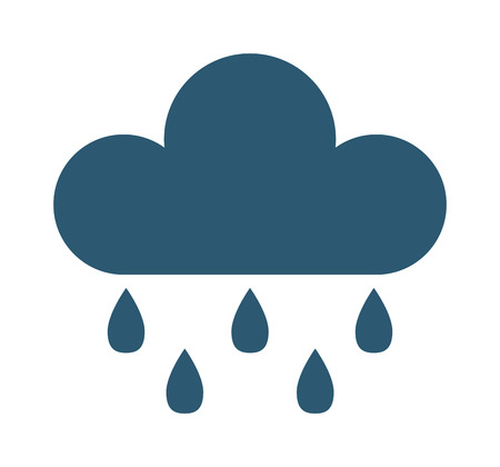 Vector illustration of cool single weather rain cloud icon. Rain cloud with raindrops in dark sky. Rain weather sky climate storm symbol cloud. Cold season water nature forecast element. Illustration