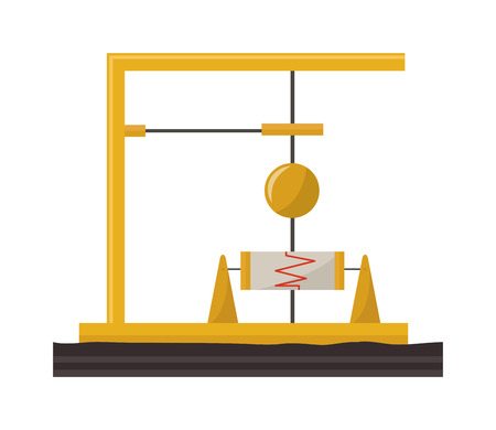 Modern earthquake equipment at natural gas processing site. Gas production causes earthquake disaster natural metal safety. Industrial construction equipment earthquake vector equipment. Illustration