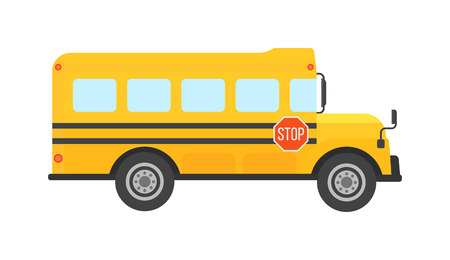 Illustration of school kids riding yellow schoolbus transportation education. Student child isolated school bus safety stop drive vector. Travel automobile school bus public trip childhood truck. Vettoriali