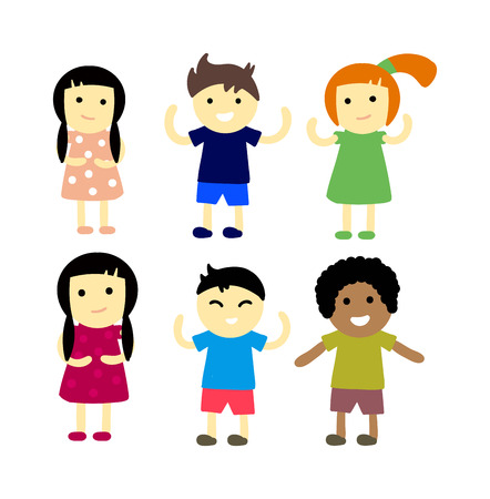 primary school: Group of school kids children together. Different nations happy character together concept vector. Little cute primary school children. School kids positive smiling children