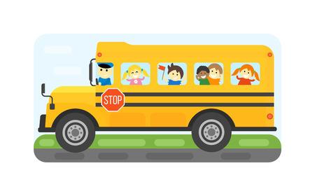 Illustration des enfants de l'école d'équitation éducation transport schoolbus jaune. enfant étudiant vecteur d'entraînement d'arrêt de sécurité des autobus scolaires isolé. automobile Voyage autobus scolaire voyage publique de camion d'enfance.