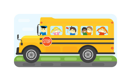 Ilustración de los niños Centro de equitación Educación Transporte autobús escolar amarillo. El niño del estudiante aislada escuela de parada bus de accionamiento vectorial. Viajes automóvil autobús escolar camión infancia viaje pública.