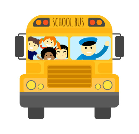 Illustration of school kids riding yellow schoolbus transportation education. Student child isolated school bus safety stop drive vector. Travel automobile school bus public trip childhood truck. Illustration