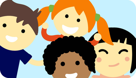 nations: Group of school kids children together. Different nations happy character together concept vector. Little cute primary school children. School kids positive smiling children