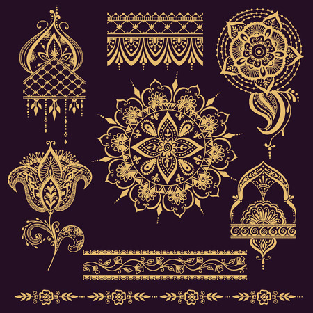 Floral mehendy pattern with paisley ornament. Vector illustration mehendy pattern in asian textile style india tribal ornate. Ethnic ornamental lace vintage mehendy pattern mandala abstract textile. Çizim