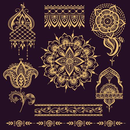 Florales Mehendy-Muster mit Paisley-Ornament. Vector Illustration mehendy Muster in der Stammes- aufwändigen indischen Textilart Indien. Ethnisches dekoratives Spitzeweinlese mehendy Mustermandala-Zusammenfassungsgewebe. Standard-Bild - 60297389