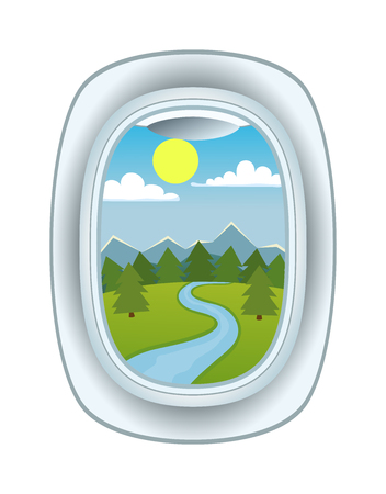 window view: Airplane window nature outdoor landscape view. Airplane window view holiday vacation. Airline, travel, clouds sunset airplane window view. Nature travel travel airplane view Illustration