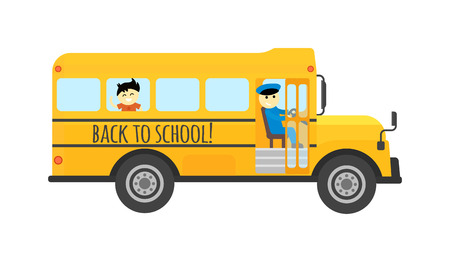 public safety: Illustration of school kids riding yellow schoolbus transportation education. Student child isolated school bus safety stop drive vector. Travel automobile school bus public trip childhood truck. Illustration