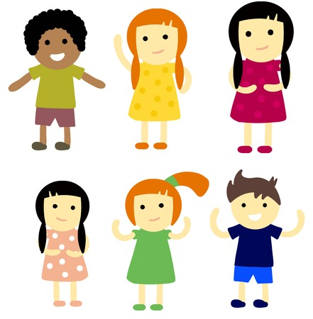 young schoolchild: Group of school kids children together. Different nations happy character together concept vector. Little cute primary school children. School kids positive smiling children