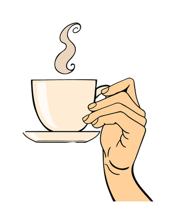 human hand: Human hand holding coffe cup pose signal human fingers. Human hand isolated. Silhouette of hand showing symbols finger thumb vector illustration.