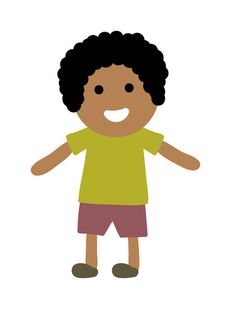 the stands: Cute afro young boy isolated. Small school boy stands and youth cheerful fun character. Vector character boy stands and lifestyle one beautiful stand adorable teen. Illustration