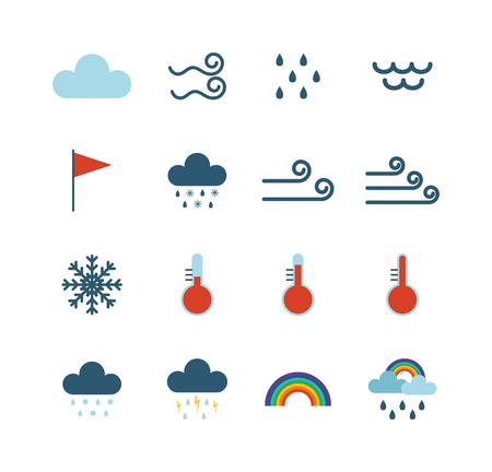 Weer-iconen dunne lijn stijl platte reisontwerp storm mist koude regenachtige klimaat. Weer dunne iconen wolk plat design. Snowflake wind, zon, web temperatuur natuur Verwachting weer dun pictogrammen.