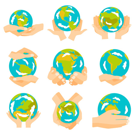 earth hands: Hand holding blue and yellow earth. Earth hands concept of happy earth day eco friendly, help ecology, future life, natural. Earth hands isolated on black background modern design vector set. Illustration