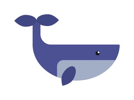 humpback: Cartoon cute and funny whales, sea animal, sea creatures vector illustration. Blue whale sea life humpback wildlife animal. Nature blue marine life whale sea ocean mammal character.
