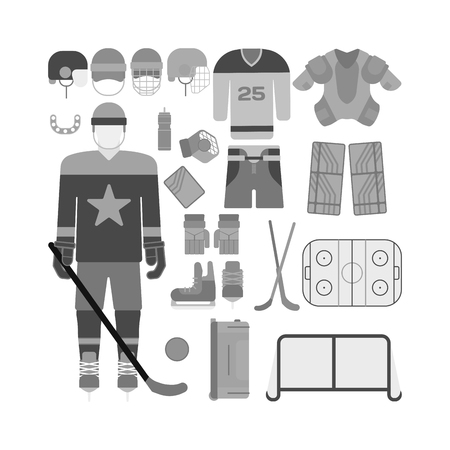 elbow pads: Hockey uniform set. Vector hockey uniform and accessory in flat style. Isolated hockey uniform equipment and hockey uniform athlete. Hockey attribution clothes equipment and accessories.