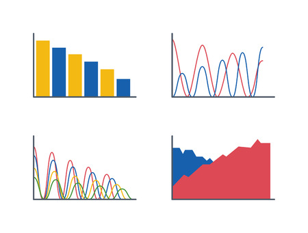 Business data graph analytics vector elements. Bar pie charts diagrams and graphs flat icon. Infographics data analytics design elements isolated on white background