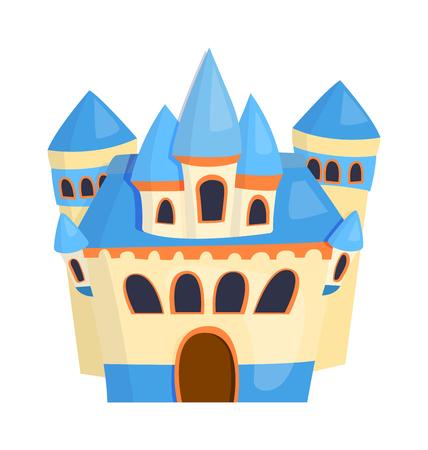fable: Cartoon fairy tale castle tower icon. Cute cartoon castle architecture. Vector illustration fantasy house fairytale medieval castle. Princess cartoon castle cartoon stronghold design fable isolated.