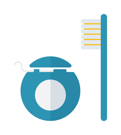 dental floss: Dental care symbols toothpaste, toothbrush and dental floss. Dental floss, teeth, mouth, tooth paste on white background